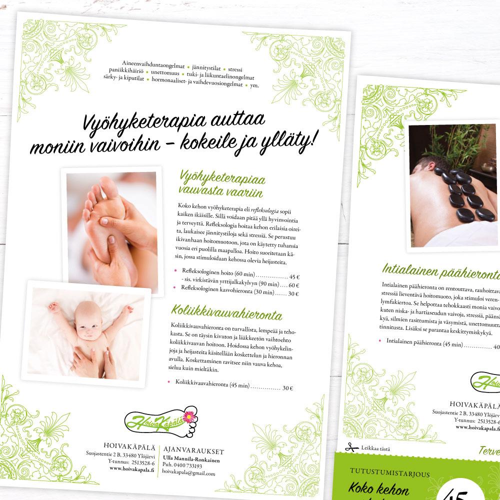 Mainoksen suunnittelu // Referenssit // Hoivakäpälä flyer